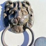 """LION solid BRASS hand made DOOR KNOCKER 6.1/2"""" heavy bronze patina"""