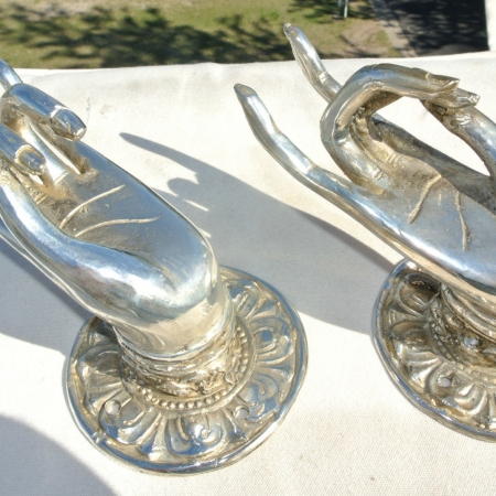 """2 Pull handle hands amazing brass silver door antique old style knob hook 3"""" B"""