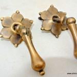 "2 nice flower round pulls 5 cm handles solid brass door vintage old style drops knobs kitchen heavy 2"" heavy bronze patina solid brass"