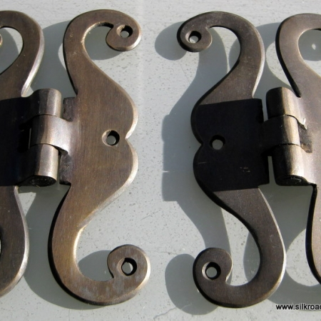 """4 aged small 'S """" snake hinges vintage aged style solid Brass DOOR BOX restoration heavy bronze patina"""