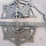 """Large handle pull solid aged brass old vintage style DOOR amazing 7""""catch loop B"""
