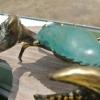 "MUD CRAB solid brass green bronze heavy decoration stunning 10"" hand made nice"