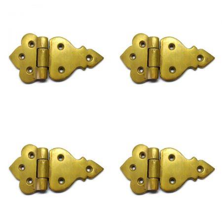 "4 POLISHED small hinges vintage style solid Brass DOOR BOX watsonbrass 660 Stunning restoration heavy flush 3.1/2"""