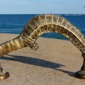 """Large SEAHORSE solid brass door old style heavy house PULL handle 14"""""""