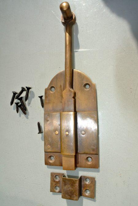 """7"""" VINTAGE style french doors Gate Door Latch Slot Antique Solid Brass Door Safe Latch Lock"""