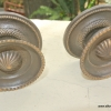 """2 heavy handle KNOB aged old solid Brass PULL large knobs kitchen 2"""" regency"""