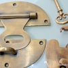 """STUNNING large heavy HASP & STAPLE . Padlock and KEY included WORKS 5"""""""