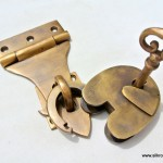 latch vintage style house BOX antiques box & padlock catch hasp DOOR Key heavy