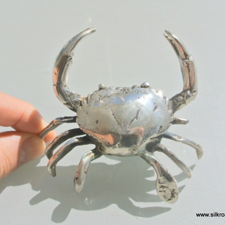 "small 3.1/2"" MUD CRAB solid brass silver plate heavy decoration hand made"
