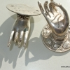 2 Buddha Pulls handle Fingers silver brass door antique old style HAND knobs 2.1/4""