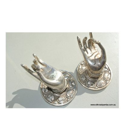 2 small Buddha Pulls handle Fingers silver brass door old style HAND knobs backplate 2.1/4""