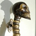 small SKULL handle DOOR PULL spine solid BRASS bronze style 210mm