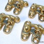 4 Nice tiny small polished box Latch catch solid brass furniture antiques doors trinket