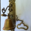 """Large BELL front door heavy Vintage style 10 """"antique look solid brass aged Chain nice sound"""