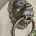 """HUGE stunning LION solid Brass heavy Door Knocker 12"""" unusual ring PULL"""