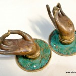 2 small Buddha Pulls handle Fingers green brass door antique old style HAND knobs 2.1/4""