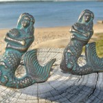 """2 small MERMAID heavy KNOB aged old solid Brass PULL knobs kitchen 2.1/2"""""""