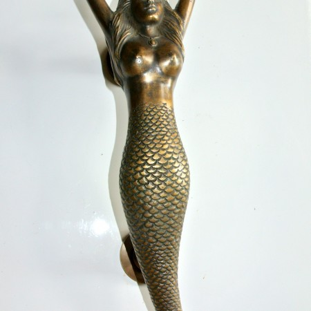 """Right hand large MERMAID solid brass door PULL old style heavy house PULL handle 15"""" aged"""