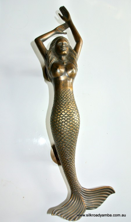 "Right hand large MERMAID solid brass door PULL old style heavy house PULL handle 15"" aged"