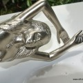 """RIGHT hand large MERMAID solid brass door PULL old style heavy house PULL handle 15"""" SILVER"""