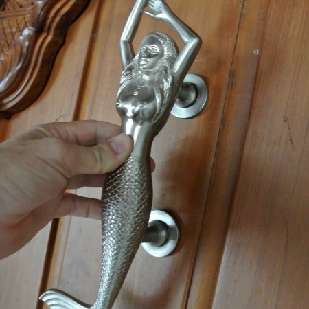 "LEFT hand large MERMAID solid brass door PULL old style heavy house PULL handle 15"" SILVER"