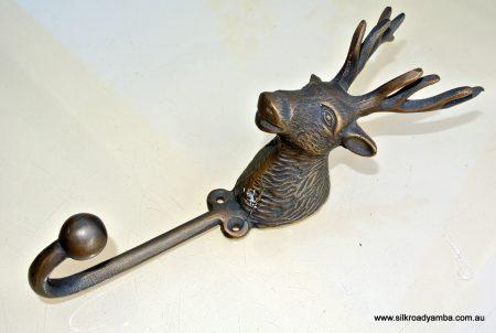 """large STAG deer COAT HOOK solid brass antiques vintage old style 7"""" hook"""