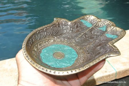 "Buddha TRAY engraved hand shape 8 "" inches long plate solid brass bowl"