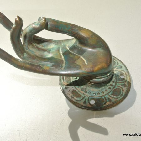 """Pull handle hands brass green door antique old style knob hook 3"""" back plate"""