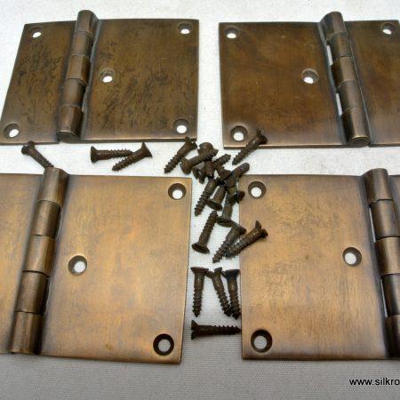 "4 cast hinges vintage age style solid Brass DOOR BOX restoration heavy 3"" screws"