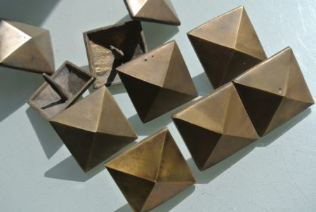 "10 Door studs decoration square corner vintage solid brass heavy 2"""