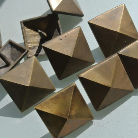 10 Door studs decoration square corner vintage solid brass heavy 2""