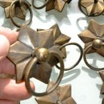 10 heavy STAR pulls handles antique style solid brass vintage old replace drawer heavy 58 mm
