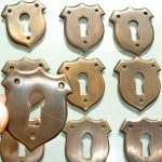 10 KEY hole shield covers old stye vintage antique look solid heavy brass aged escutcheon