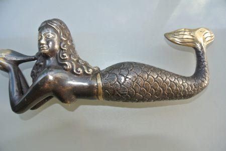 "MERMAID heavy solid heavy Brass aged statue 9"" shell"
