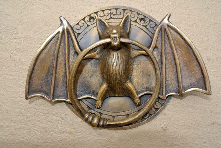 "heavy Door Knocker BAT ring old heavy SOLID cas tBRASS vintage antique style 7"""