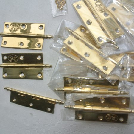 "10 small hinges vintage style solid Brass DOOR BOX 2.1/2"" polished finials flush & screws"