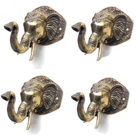 "4 ELEPHANT shape WALL HOOK 4"" BRASS old style look SCREW to wall trunk hang heavy green"