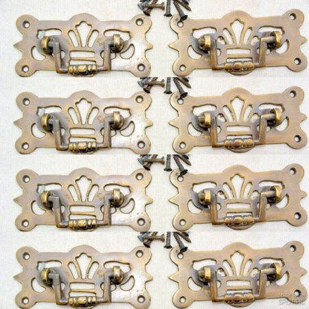 """8 small heavy pulls handles BOX antique solid brass vintage old replace drawer heavy 3 """""""