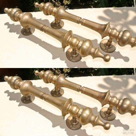 "4 Handles DOOR PULL spun solid BRASS old vintage antique style amazing 12 ""2 pair"