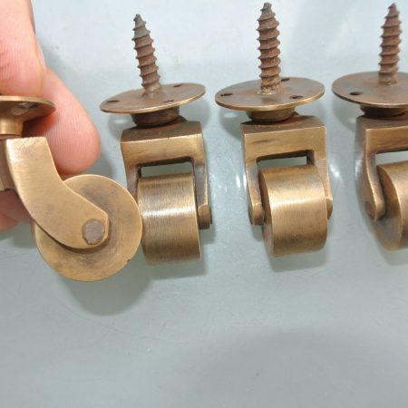 """4 screw castor chair table wheel solid brass 1.3/4 """"high castors old style loo"""