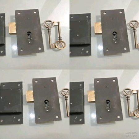"8 BOX LOCK Vintage stye antique look solid heavy brass & metal aged key lock flush mount 4 "" black recessed hand made"
