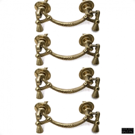 4 heavy bale pull polished handle solid brass vintage style 8 cm old style bolt