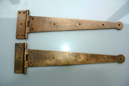"""18 """" Inch 2 pieces massive heavy Vintage CLASSIC Hinges 460 mm ANTIQUE style Solid pure Brass aged Cabinet Door Decor hinge restore"""