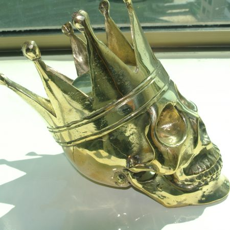 "SKULL head pure BRASS king crown vintage style collect 6"" statue aged pattern heavy"