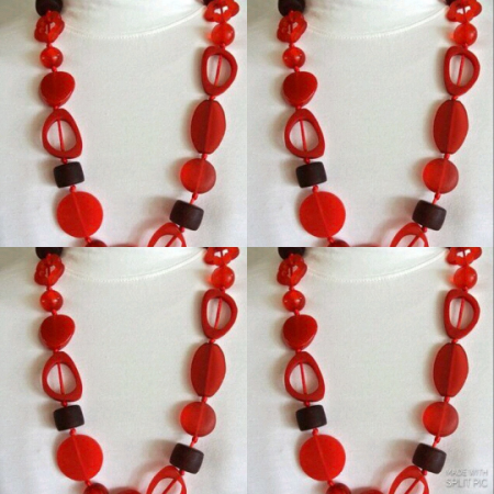 4 Resin necklace RUBY RED hand made stunning fashion jewellery bead NEW light