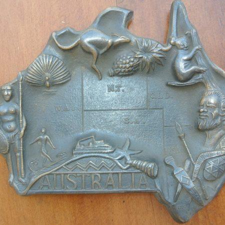 Australia tray solid brass deco australiana repo states collect vintage style surfing aboriginal kangaroo