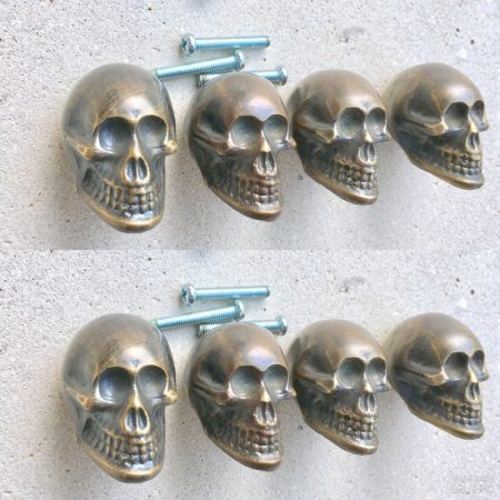 "8 small Skull Drawer 2cm Gothic Finger Pull Solid Brass 1.3/4"" solid heavy brass old style screws antiques hand made cabinet kitchen knob"