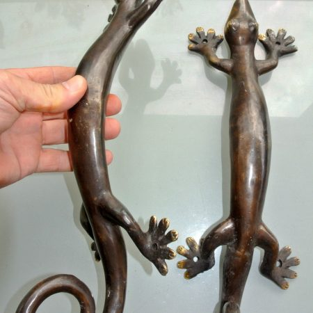 """2 Large GECKO solid pure brass door antique old style house PULLS handles 16 """""""