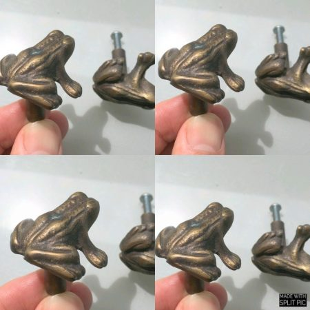 8 pieces small old style FROG Cabinet Door solid Brass KNOB Drawer Pull 3.6 cm bronze patina
