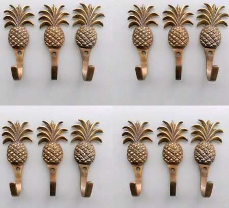"""12 PINEAPPLE COAT HOOKS 4"""" small solid brass aged antiques vintage old style 100mm hook 10 cm bronze patina"""